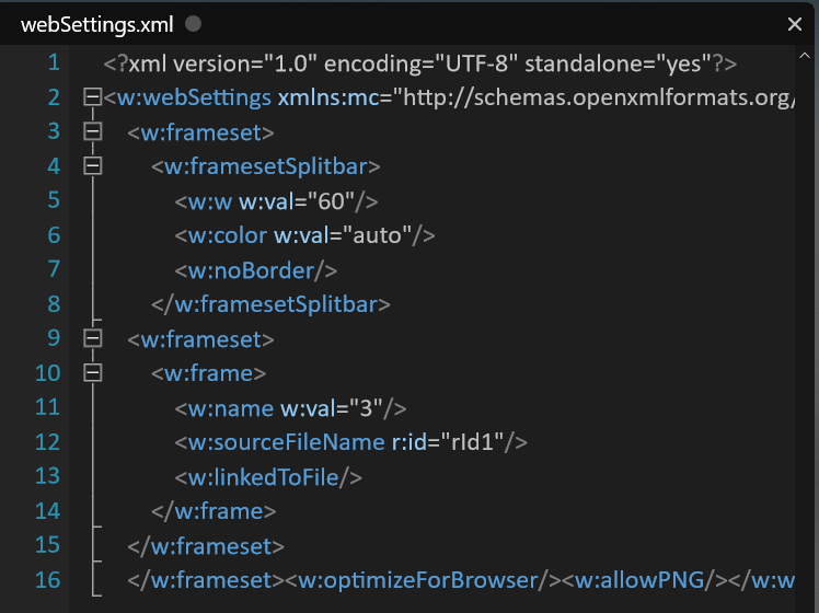webSettings XML - Frameset