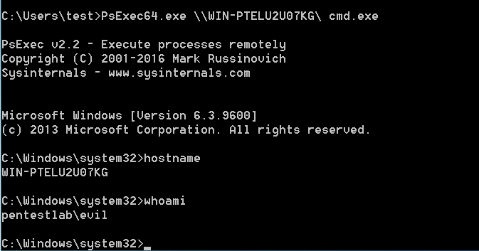 Golden Ticket - Shell with PsExec as invalid user