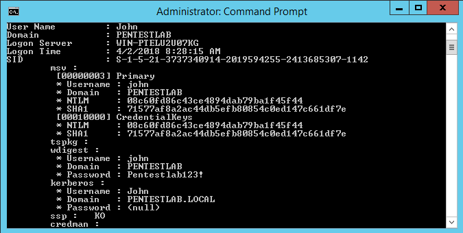 Mimikatz - ClearText Password in lsass