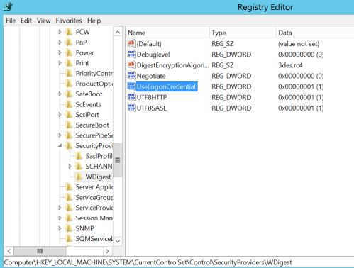 Mimikatz - Registry Setting for Windows 2012 and 2016