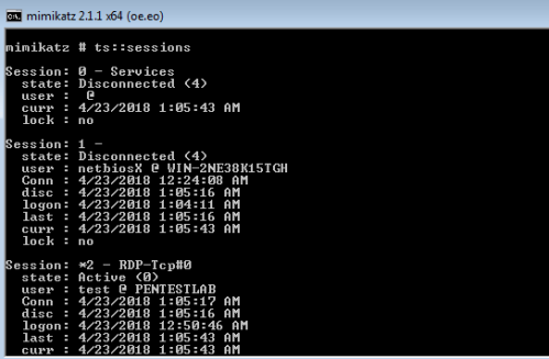 Mimikatz - Terminal Services Sessions