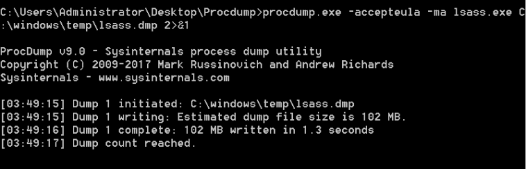 Procdump - lsass process