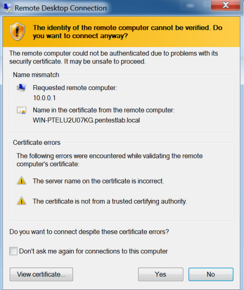 Remote Desktop Connection - Certificate Errors