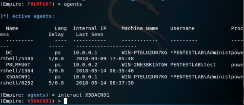 Empire - List of Agents  - empire list of agents - Lateral Movement – WinRM | Penetration Testing Lab