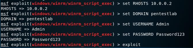 Metasploit - WinRM Code Execution Module Configuration