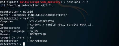 WinRS - Meterpreter Session  - winrs meterpreter session - Lateral Movement – WinRM | Penetration Testing Lab