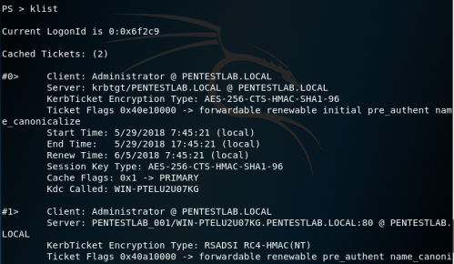 Kerberoast - Obtain Cached Tickets with klist  - kerberoast obtain cached tickets with klist - Kerberoast | Penetration Testing Lab