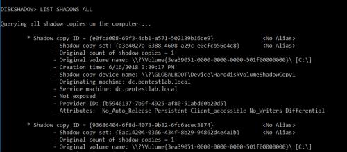 diskshadow - Retrieve Shadow Copies  - diskshadow retrieve shadow copies - Dumping Domain Password Hashes | Penetration Testing Lab