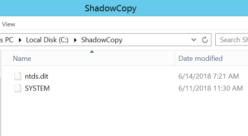 ShadowCopy - Files  - shadowcopy files - Dumping Domain Password Hashes | Penetration Testing Lab