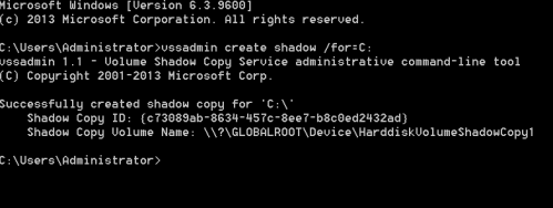 vssadmin - Create Volume Shadow Copy