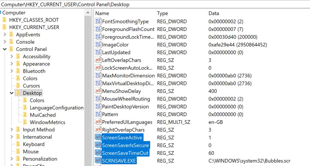 - screensaver registry keys - Persistence – Screensaver | Penetration Testing Lab