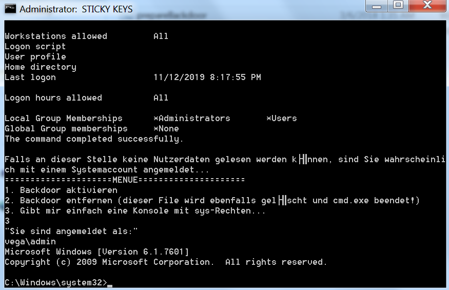 - persistence sticky keys batch file system console - Persistence – Accessibility Features | Penetration Testing Lab