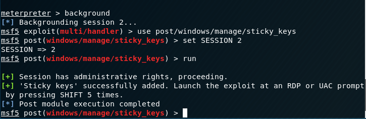 - persistence sticky keys metasploit module - Persistence – Accessibility Features   Penetration Testing Lab
